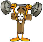 23554-clip-art-graphic-of-a-wooden-cross-cartoon-character-holding-a-heavy-barbell-above-his-head-by-toons4biz-1